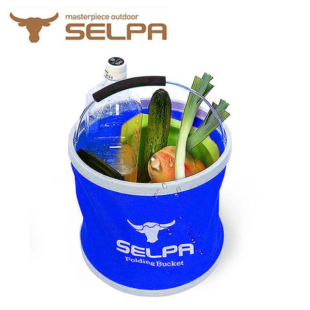 【韓國SELPA】收納大容量多可摺疊用途水桶/裝水/釣魚/露營/洗車(藍色)