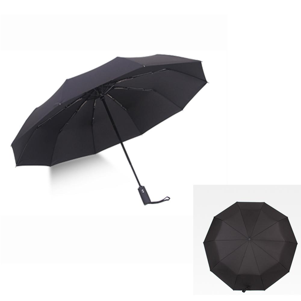 PUSH! 好聚好傘105CM 十骨抗強風雨傘戶外傘遮陽傘晴雨傘自動傘黑色I61
