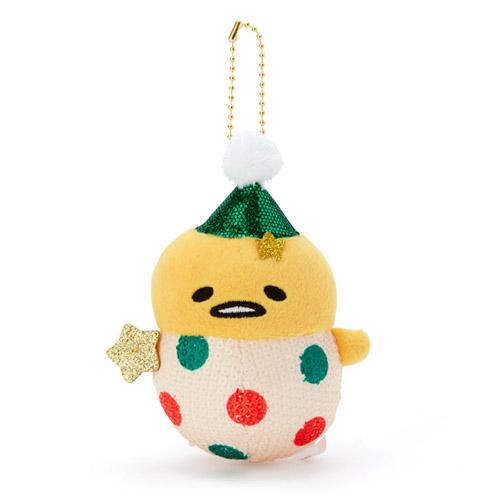 Sanrio 聖誕節系列 圓滾滾造型亮片絨毛玩偶珠鍊吊飾娃娃 掛飾 擺飾 蛋黃哥 小丑裝 紅綠點點