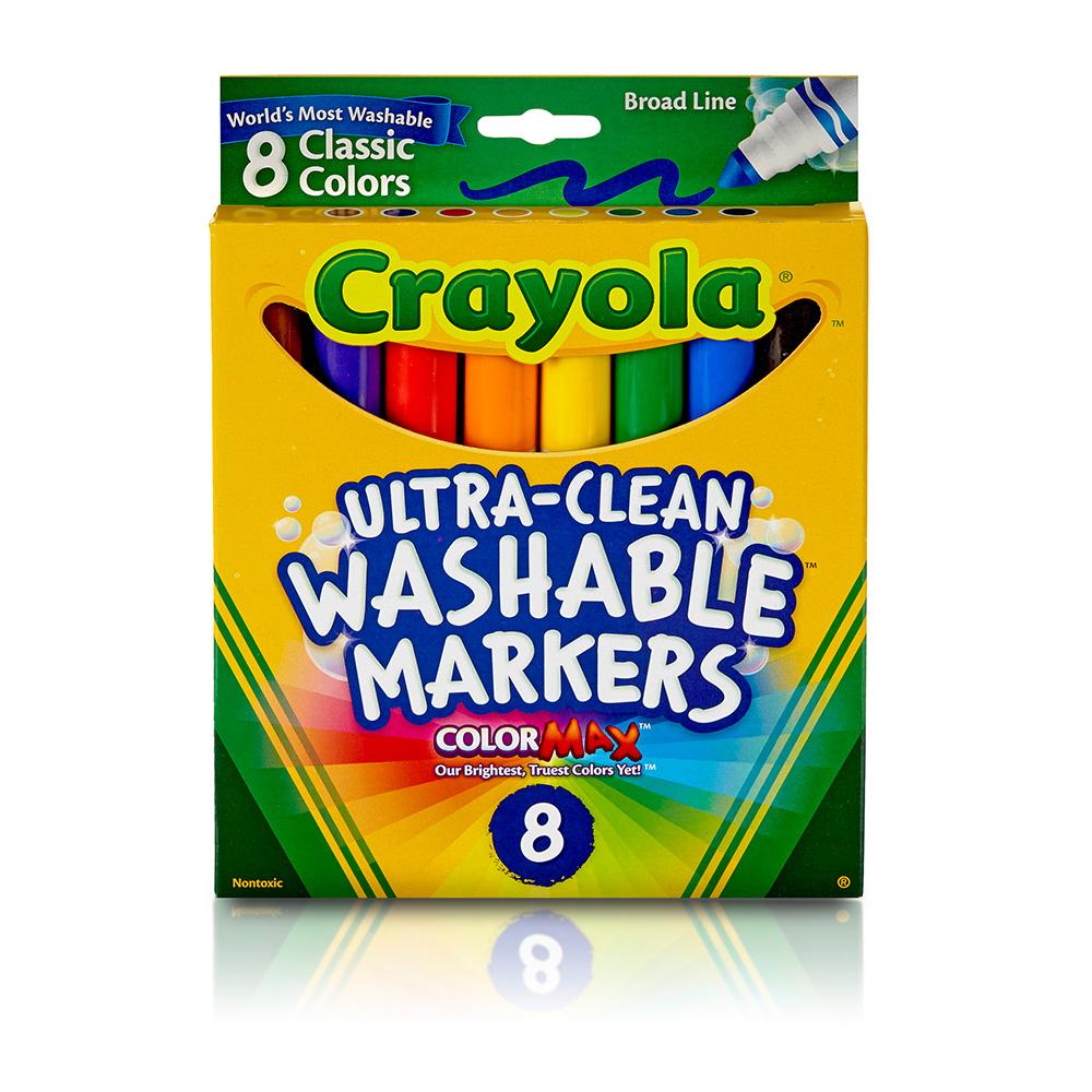 美國crayola 可水洗8色粗頭彩色筆-經典色
