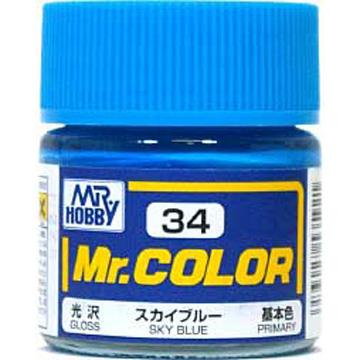 GUNZE郡是 Mr. COLOR 亮光天藍色SKY BLUE模型專用漆NO.C-34