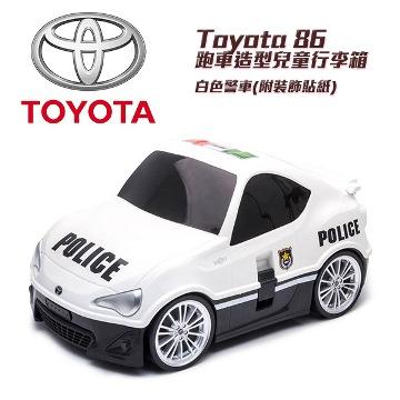 【Amuzinc酷比樂】兒童車造型行李箱 登機箱 收納箱 Toyota 86 白色警車(附裝飾貼紙)