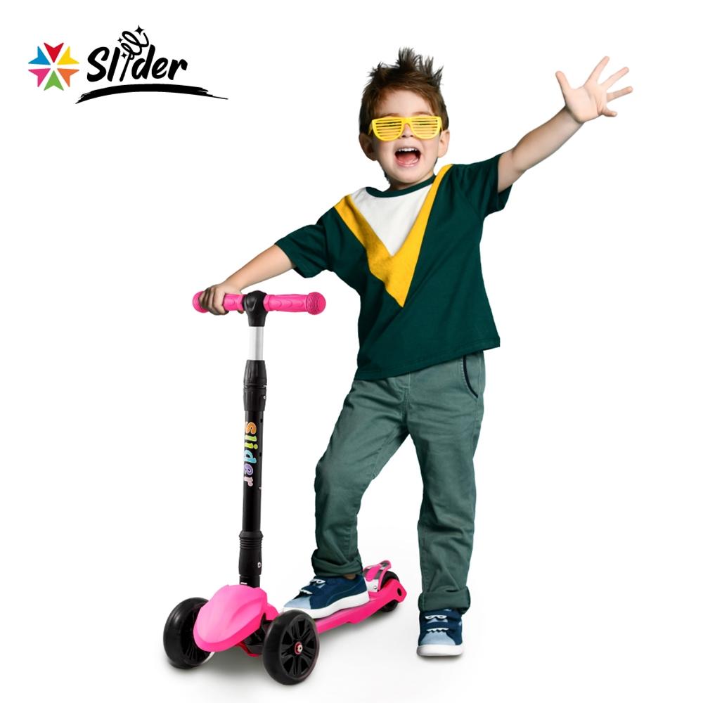 [Slider] 兒童三輪折疊滑板車XL1(螢光粉)