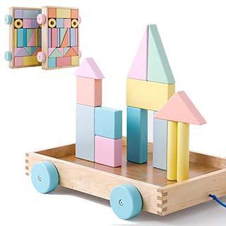 經典積木 馬卡龍積木城堡 積木拉車 可拖拉式積木車