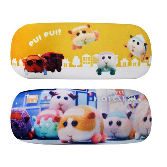 【日本正版】PUI PUI 天竺鼠車車 絨面 硬殼眼鏡盒 附拭鏡布 眼鏡盒 Molcar 519463 519470