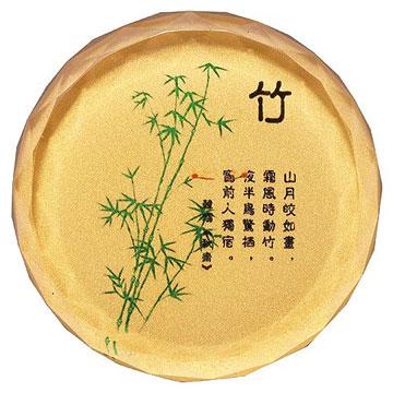 《竹》彩印圓形水晶文鎮