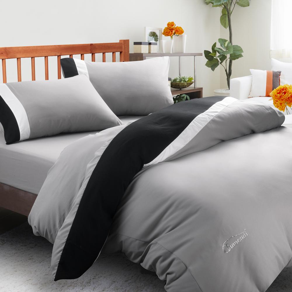 (Jumendi-水鑚之星.灰)台灣製防蹣抗菌被套床包組-雙人