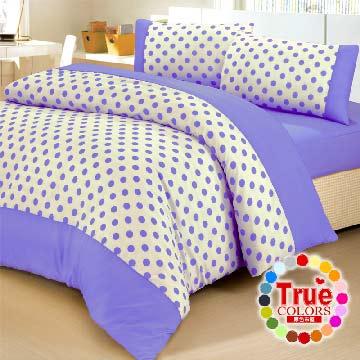 【原色布屋】水玉點點。加大四件式被套床包組-粉紫