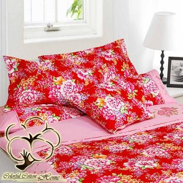 【采棉居寢飾文化館】純棉客家紅花八件式床包兩用被組(雙人)