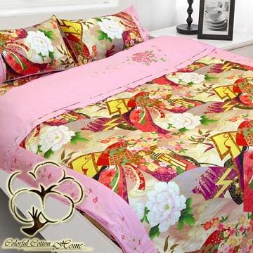 【采棉居寢飾文化館】純棉客家日本花八件式床包兩用被組(雙人)