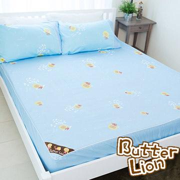 【奶油獅】怡情葉語系列-台灣製造-100%精梳純棉床包三件組(水藍)-雙人加大6尺