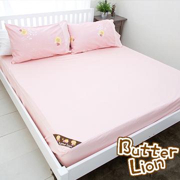 【奶油獅】素雅葉語系列-台灣製造-100%精梳純棉床包二件組(粉紅)-單人3.5尺