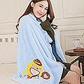 奶油獅 台灣製造 開纖紗柔膚吸水/保暖毛毯-星星牛仔(水藍)