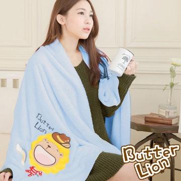 奶油獅 台灣製造 開纖紗柔膚吸水/保暖毛毯-彩虹牛仔(水藍)