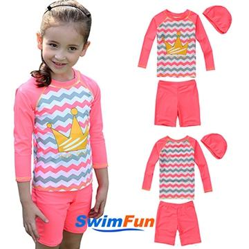 【Swim Fun】女童泳衣長袖防曬皇冠款分體泳裝_粉色