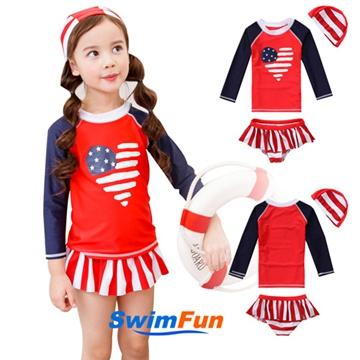 【Swim Fun】女童泳衣長袖美國國旗分體兒童泳裝