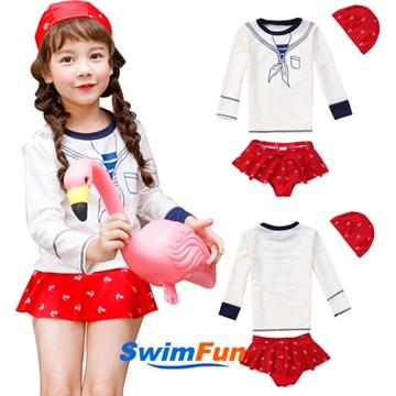 【Swim Fun】女童泳衣長袖海軍風分體兒童泳裝
