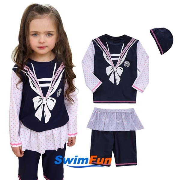 【Swim Fun】蝴蝶結海軍風長袖女童泳裝