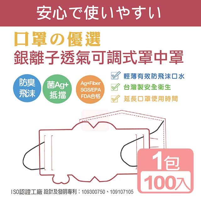《真心良品》銀離子透氣可調式罩中罩口罩墊片(100入) X 2