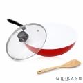 【固鋼】紅色法拉利白陶瓷鍋/不沾鍋/炒鍋32cm