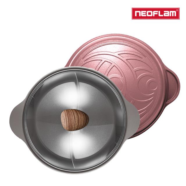 NEOFLAM 陶瓷不沾鑄造28公分鴛鴦鍋含玻璃蓋-乾燥玫瑰粉(IH適用/不挑爐具)