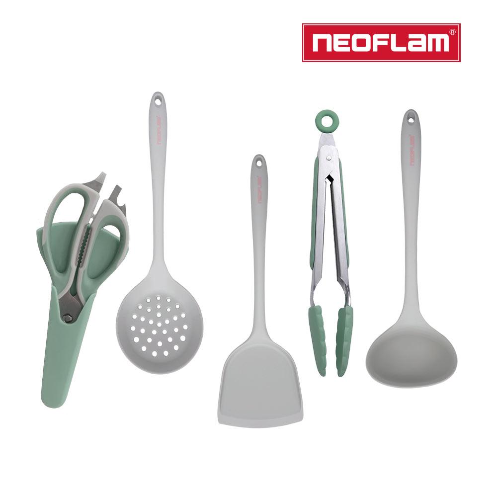 NEOFLAM 廚房配件5件組-莫蘭迪(鍋鏟/湯勺/漏勺/料理夾/料理剪刀)
