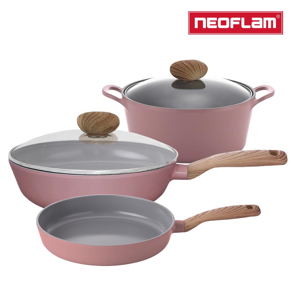 NEOFLAM Retro系列丹麥公主三鍋組-雙耳湯鍋+平底鍋+炒鍋(IH爐適用/不挑爐具/可直火