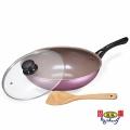 【固鋼】香檳紫陶瓷不沾鍋具組-炒鍋3件組-30cm