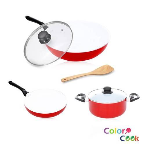 【Color Cook】法拉利紅白陶瓷不沾鍋具組(3鍋2蓋1鏟)