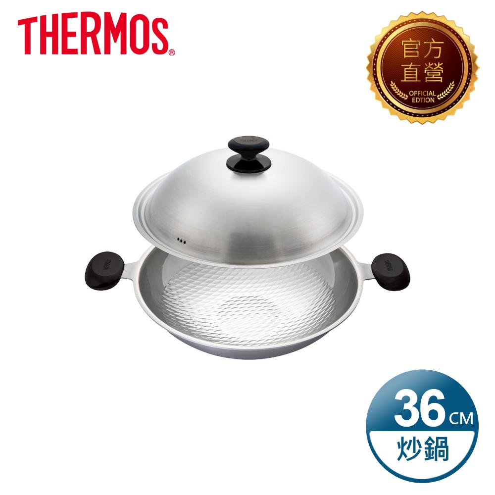 THERMOS膳魔師 新一代享瘦鍋 雙耳炒鍋36cm(加附電木把手1支)(WOK-36-S)