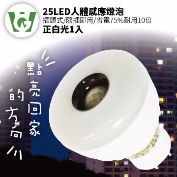25LED感應燈泡(標準插頭型)(正白光)