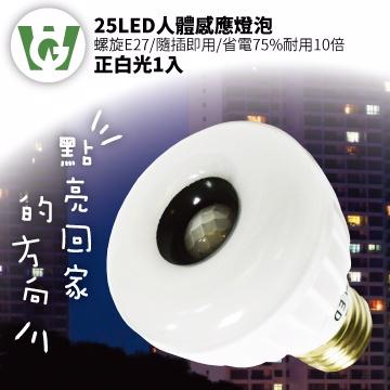 ★全台首家感應燈泡通過BSMI認證★ 25LED感應燈泡(標準螺旋E27型)(正白光)