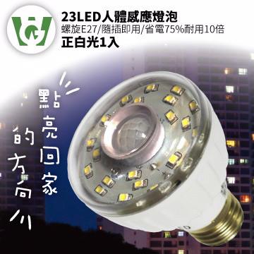 ★全台首家感應燈泡通過BSMI認證★23LED感應燈泡(螺旋E27型)(正白光)