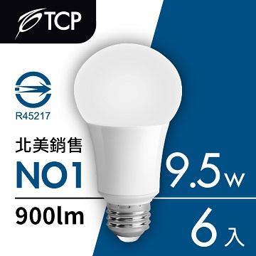 TCP台灣強凌9.5W LED廣角型節能省電燈泡白光6入