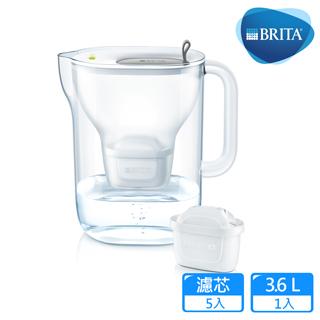 【德國BRITA】Style 3.6L純淨濾水壺+4入MAXTRA Plus濾芯_灰色(共5芯)