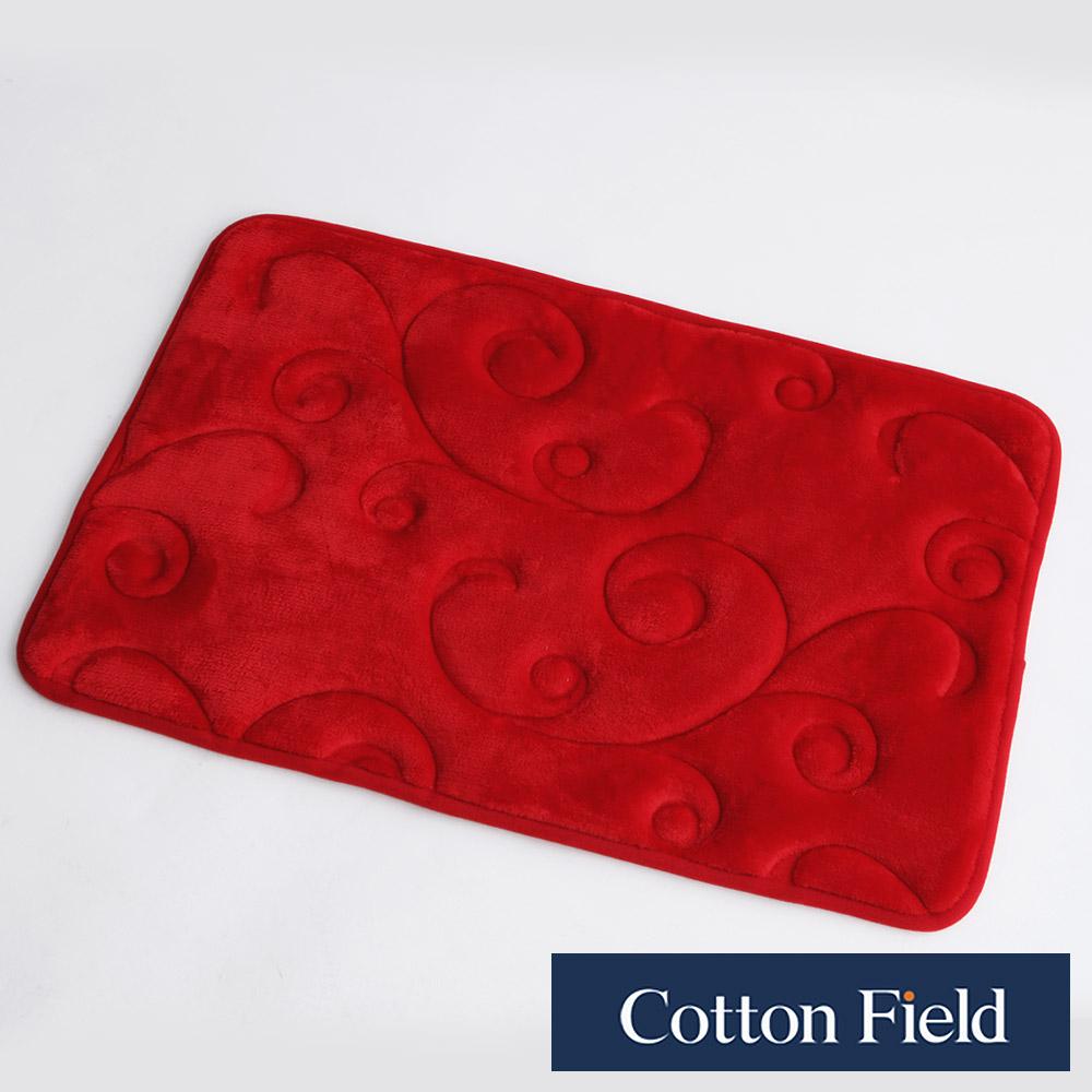 棉花田【維也娜】舒壓記憶綿吸水防滑踏墊-紅色(40x60cm)
