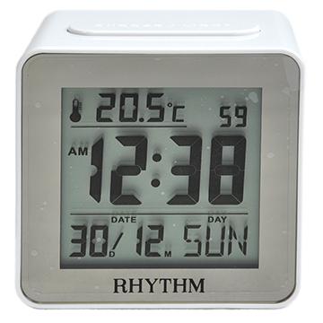日本麗聲鐘-時尚液晶電子鬧鐘/ 日期顯示/ 自動感應LED夜燈/ 貪睡(簡約白)