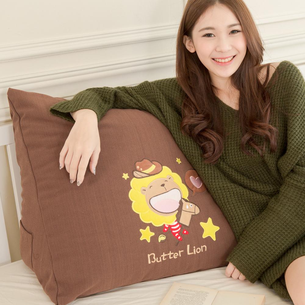 【奶油獅】正版授權-100%台灣製造咖啡貼布繡星星三角靠墊(1入)