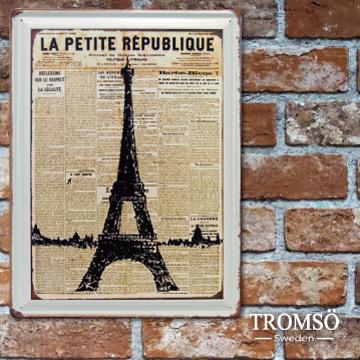 TROMSO工業風紐約時尚街頭美式鐵牌30X40-F8巴黎鐵塔