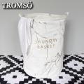 TROMSO陽光加州-特大燙金棉布洗衣籃-大理石白