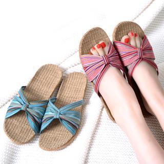 【ego life】條紋蝴蝶結亞麻女用拖鞋