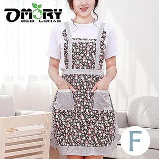 【OMORY】雙層日韓碎花工作圍裙-F款