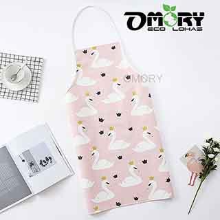 【OMORY】清新韓式PU防水圍裙-粉色天鵝