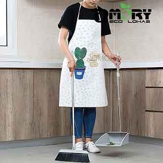 【OMORY】清新韓式PU防水圍裙-白色仙人掌