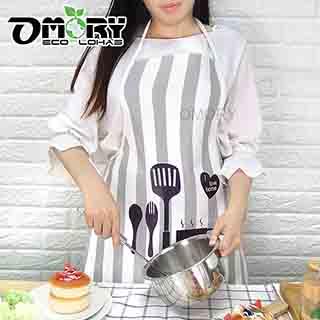 【OMORY】清新韓式PU防水圍裙-灰白條紋