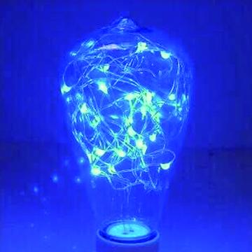 愛迪生LED創意復古滿天星銅線裝飾情境燈泡居家擺飾婚禮派對聖誕禮品生日禮物◆ST64復古型-藍色