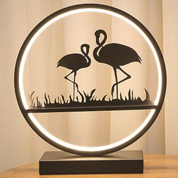 創意居家LED床頭燈可調光臥室夜燈現代簡約藝術裝飾擺設氣氛燈生日禮物-優雅火烈鳥剪影