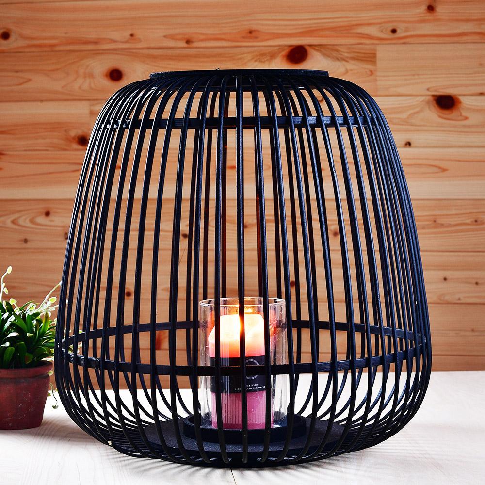 鳥籠造型竹編燭台