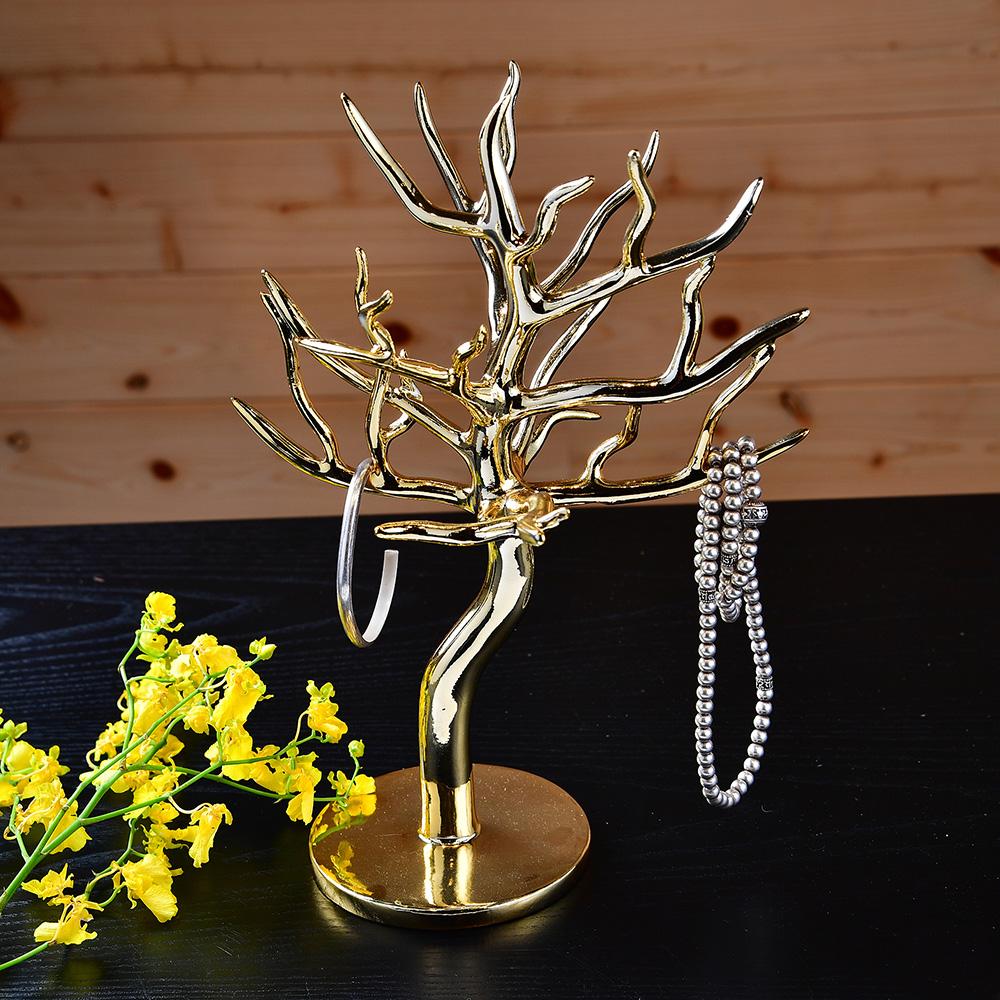 亮面金樹型首飾架