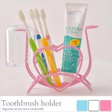 《舒適屋》愛心造型款牙刷架杯架/牙膏架(粉紅色)